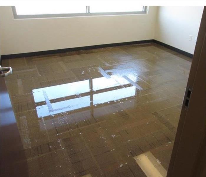 same office, the water removed along with the tiles, one air mover still working