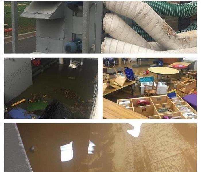 montage of drying equipment and flooded commercial properties