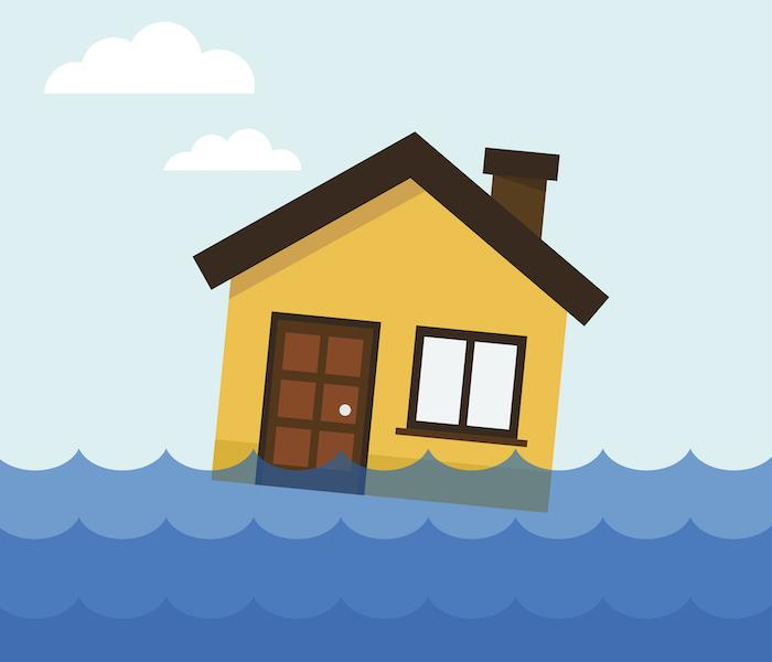 Home floating in flood water